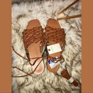 Brand New Zara Leather Brown/Tan Sandals Size 40